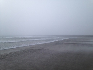 The Pacific Ocean with the fog and the water current getting stronger.
